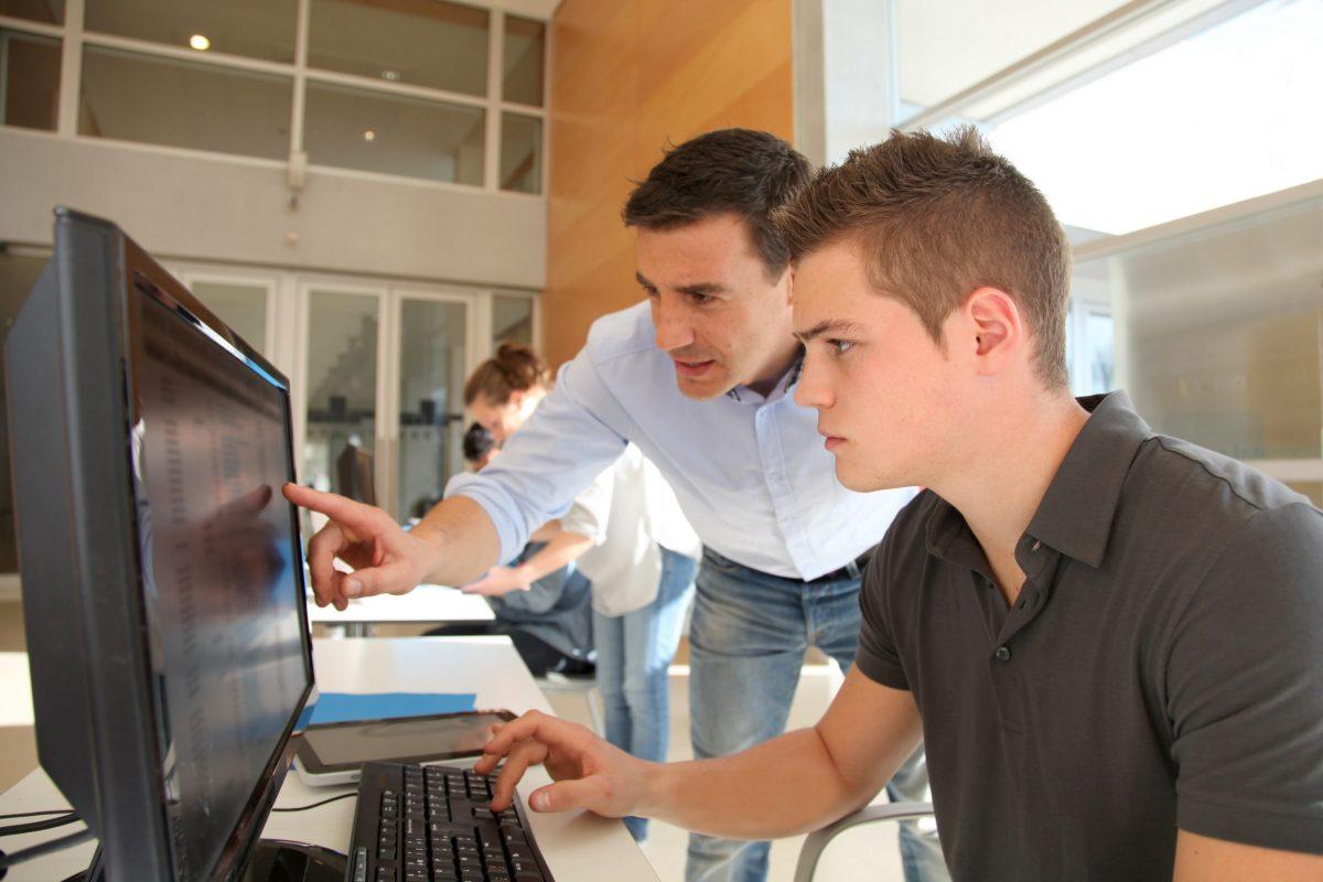 Man doing training on computer