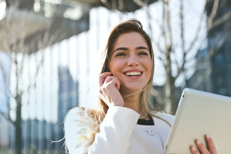 Woman happy on phone - Pipeline strategy